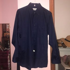 Men's Navy Geoffrey Beene Dress Shirt Size 16 1/2
